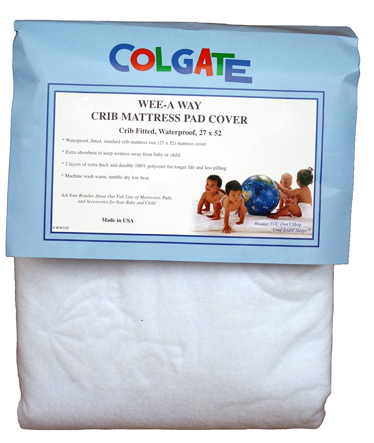 Amazon.com : Colgate Wee-A-Way - Waterproof Crib Mattress Pad Cover, Extra  Soft & Absorbant, Machine-Washable, Fitted with Elastic, White : Crib  Mattress ...