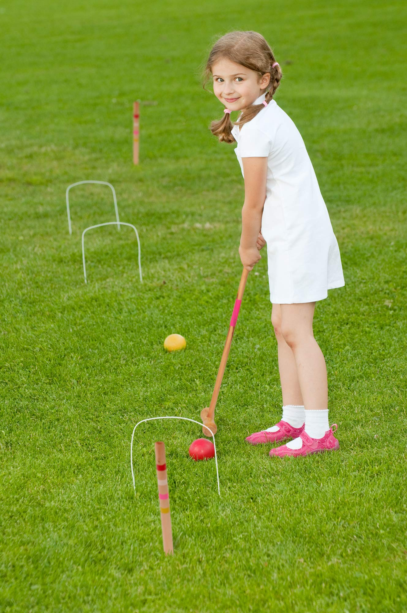 Kids Croquet Set for 4-Players | Classic Outdoor Lawn Game for Children | Great for Birthday Parties, Picnics, BBQs, and More | Comes with Mallets, Balls, Wickets, and a Carrying Bag for Portability by Crown Sporting Goods (Image #3)