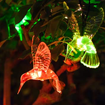 10 Color Changing LED Hummingbird Solar Outdoor Garden U0026 Patio String Lights