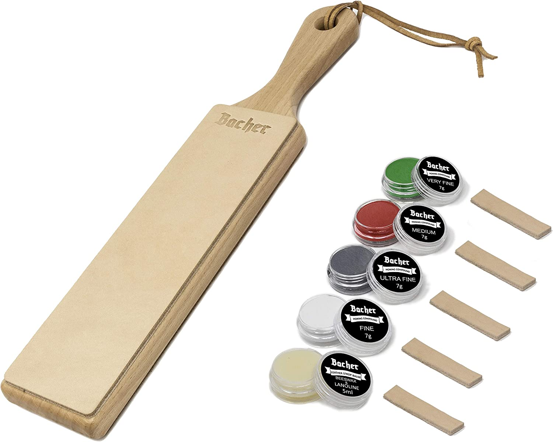 Suavizador de cuero (Asentador o Afilador) BACHER Premium STROP. Paleta de madera dura cubierta con cuero curtido ruso Juchtenleder de 1/8