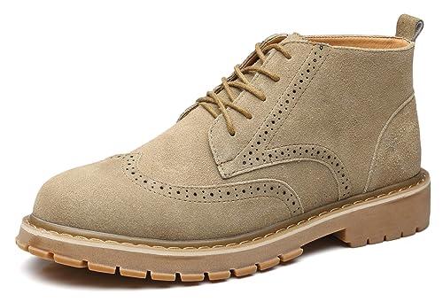 NXY Botines Brogue de la Moda de los Hombres Cuero de Gamuza Lace Up Zapatos de Vestir: Amazon.es: Zapatos y complementos