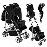 Duo Twin Tandem Double Pushchair complete with 2 seat units, fully reclining lie back at the rear for newborn, front seat from 6 months.Comes complete with free rain cover. Silver Chassis Black Midnight