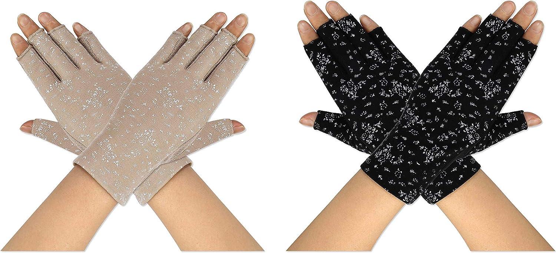 Guantes de Protección UV Solar de Mujeres 2 Pares Guantes Cortos para Conducir sin Dedos Antideslizantes Verano Primavera al Aire Libre para Chicas Equitación, Ciclismo, El Golf Exteriores