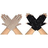 MaoXinTek Guantes de Protección UV Solar de Mujeres 2 Pares Guantes Cortos para Conducir sin Dedos Antideslizantes…