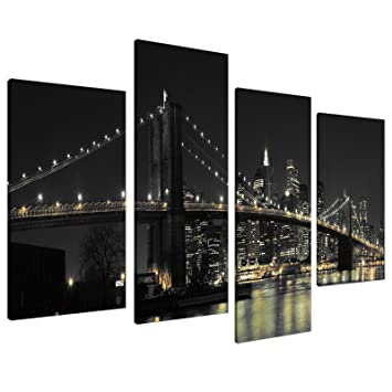 Delightful Large New York City Canvas Wall Art Pictures Of NYC Skyline In Black White  Set 4 Part 12