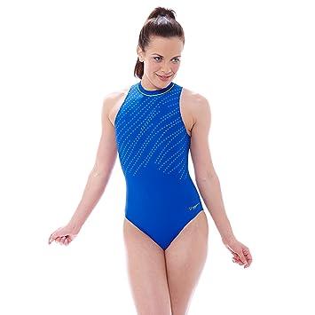 Zoggs Womens Tuncurry Hi Neck Swimming Costume Blue 34 Inch10