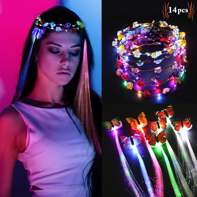 Legendog LED Blumenkranz Haarschmuck, Blumenkranz Haar Zusätze Blumen Stirnband Kranz Haarband Blumendekor Spielzeug mit Schmetterling Haarschmuck Gürtel für Damen und Kinder