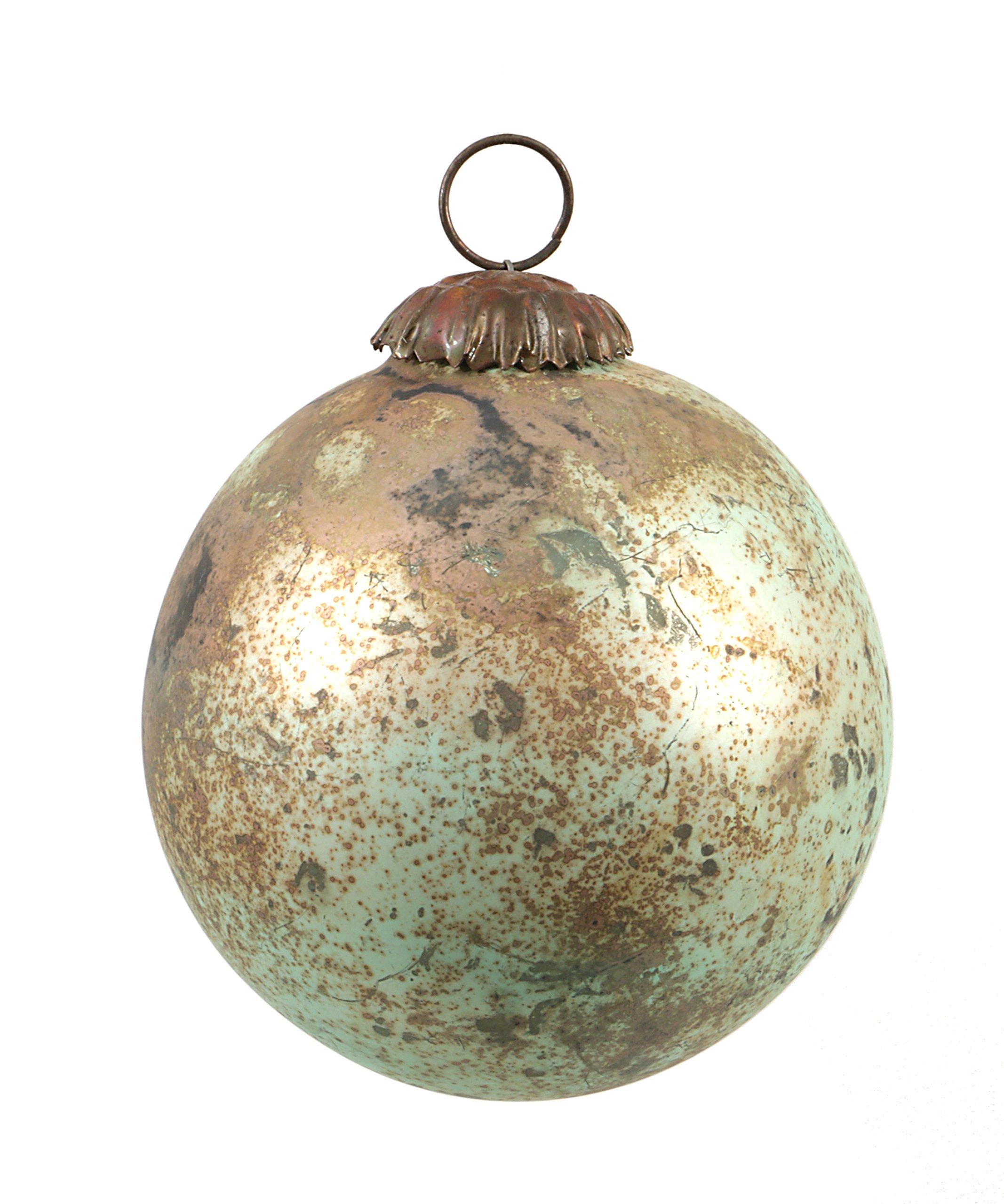Creative Co-op 4'' Round Glass Marble Design Ornament, Copper