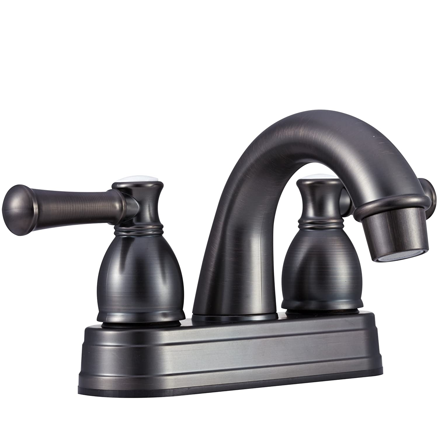 Dura Faucet (DF-PL620L-SN) Designer Two Handle Arc Spout RV Lavatory Faucet (Brushed Satin Nickel) DFPL620LSN