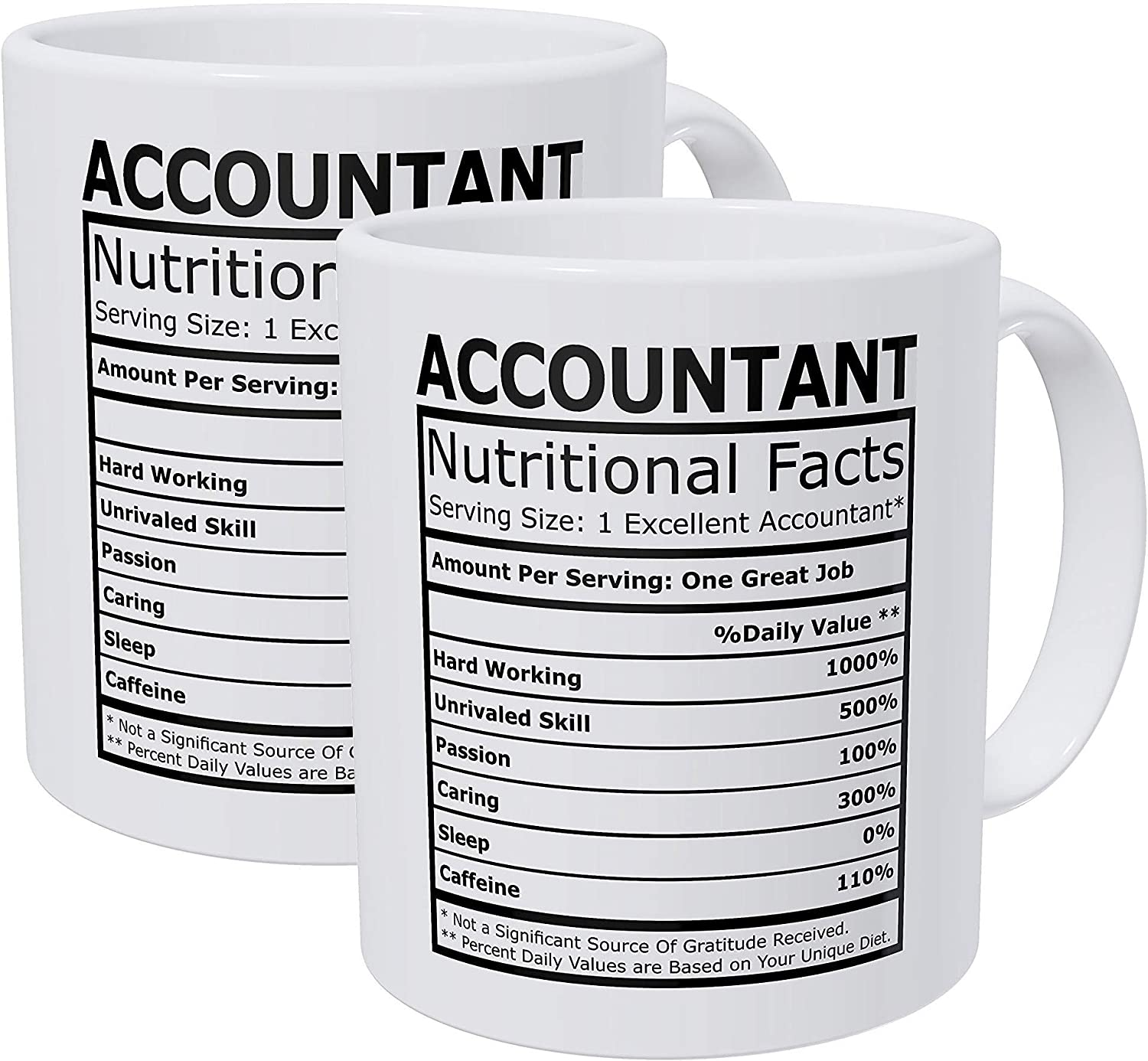 Willcallyou Pack of 2 Accountant CPA Nutritional Facts 11 Ounces Funny White Coffee Mug