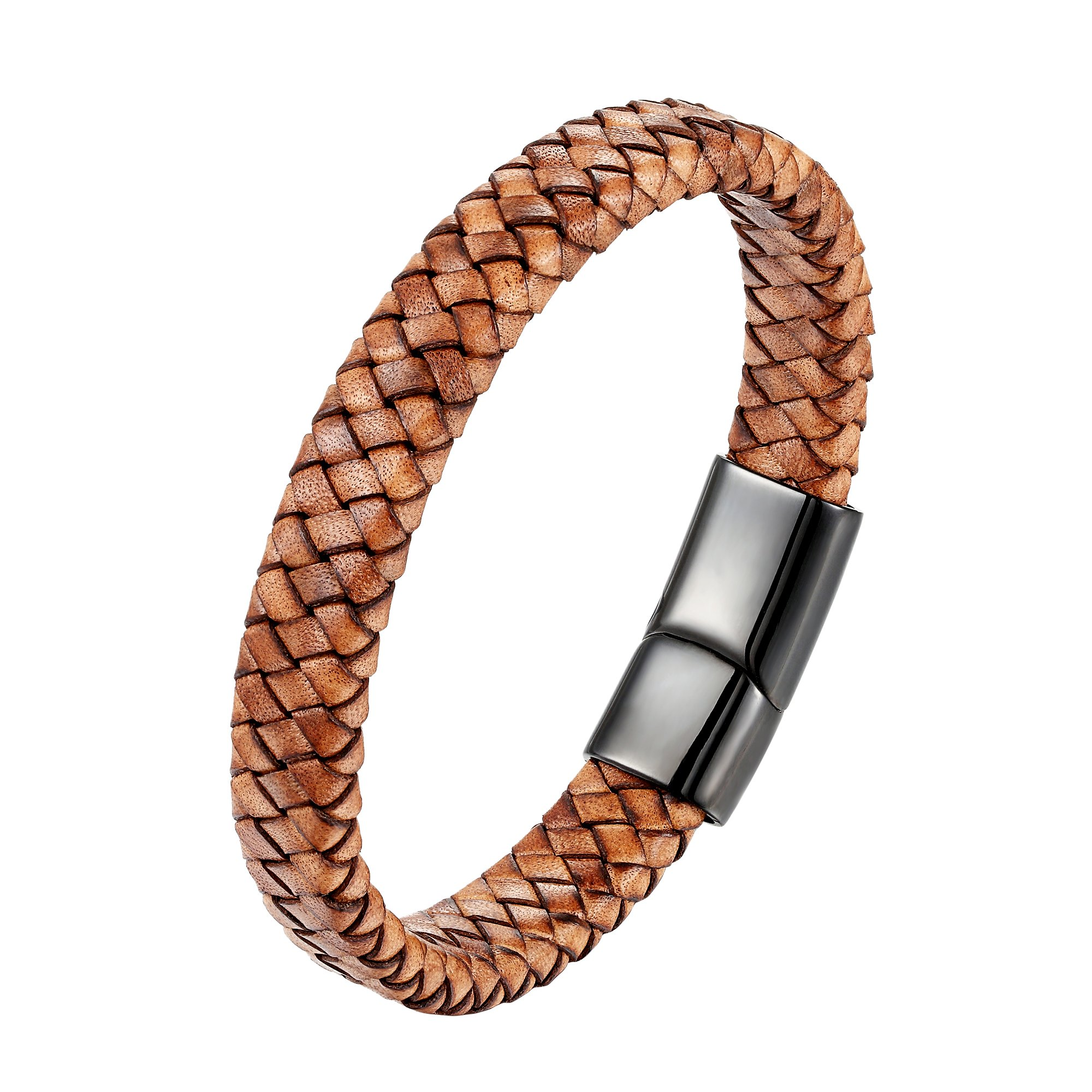 CHOMAY Braided Genuine Leather Bracelet Stainless Steel Clasp Bangle Wrist Cuff Gift Box 205mm
