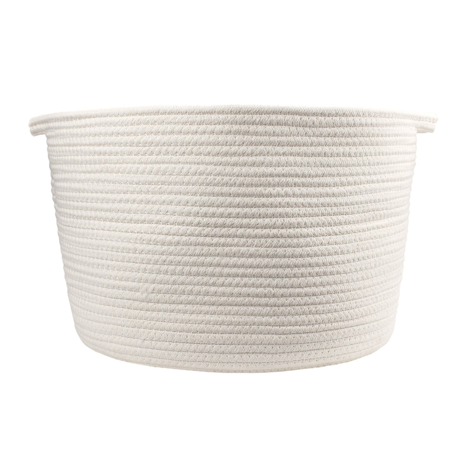 """Orino Cotton Rope Storage Baskets with Handles, soft durable Laundry Baskets Nursery Hamper Organizer for kids' Toys Home Decor Blanket basket (15""""x10"""", Large, Off White)"""