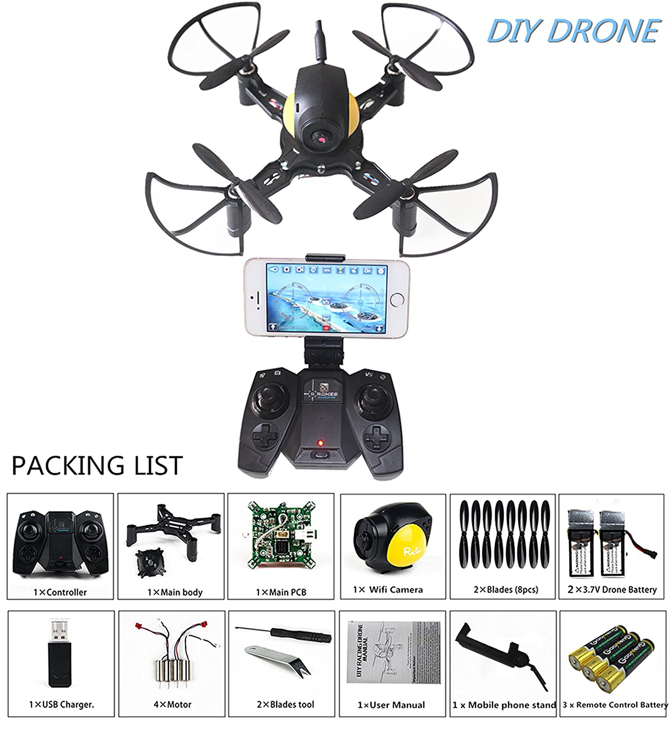 DIY Mini RC Toy Quadcopter Drone Set Building Kit With FPV HD Camera RTF Helicopter For Kids with Extra Battery and AA Battery for Remote Controller