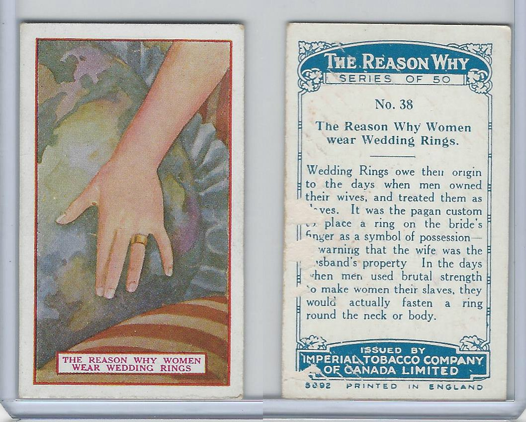 C32 Imperial Tobacco The Reason Why 1924 38 Women Wedding Rings