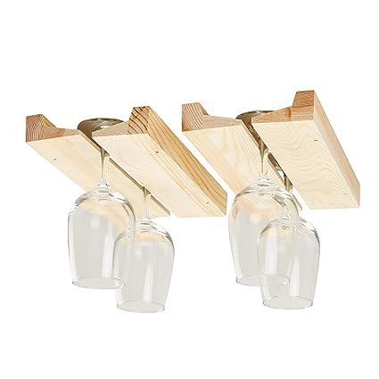 Amazoncom Wooden Wine Glass Rack 2 Pack Stemware Rack Hanging