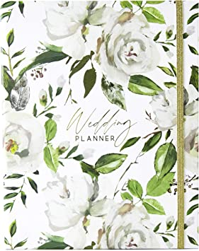 White /& Leaves The Complete Bridal Planning Journal for Engaged Couples Modern Wedding Planner Book and Organiser for UK Brides with Gift Box Hardcover Notebook