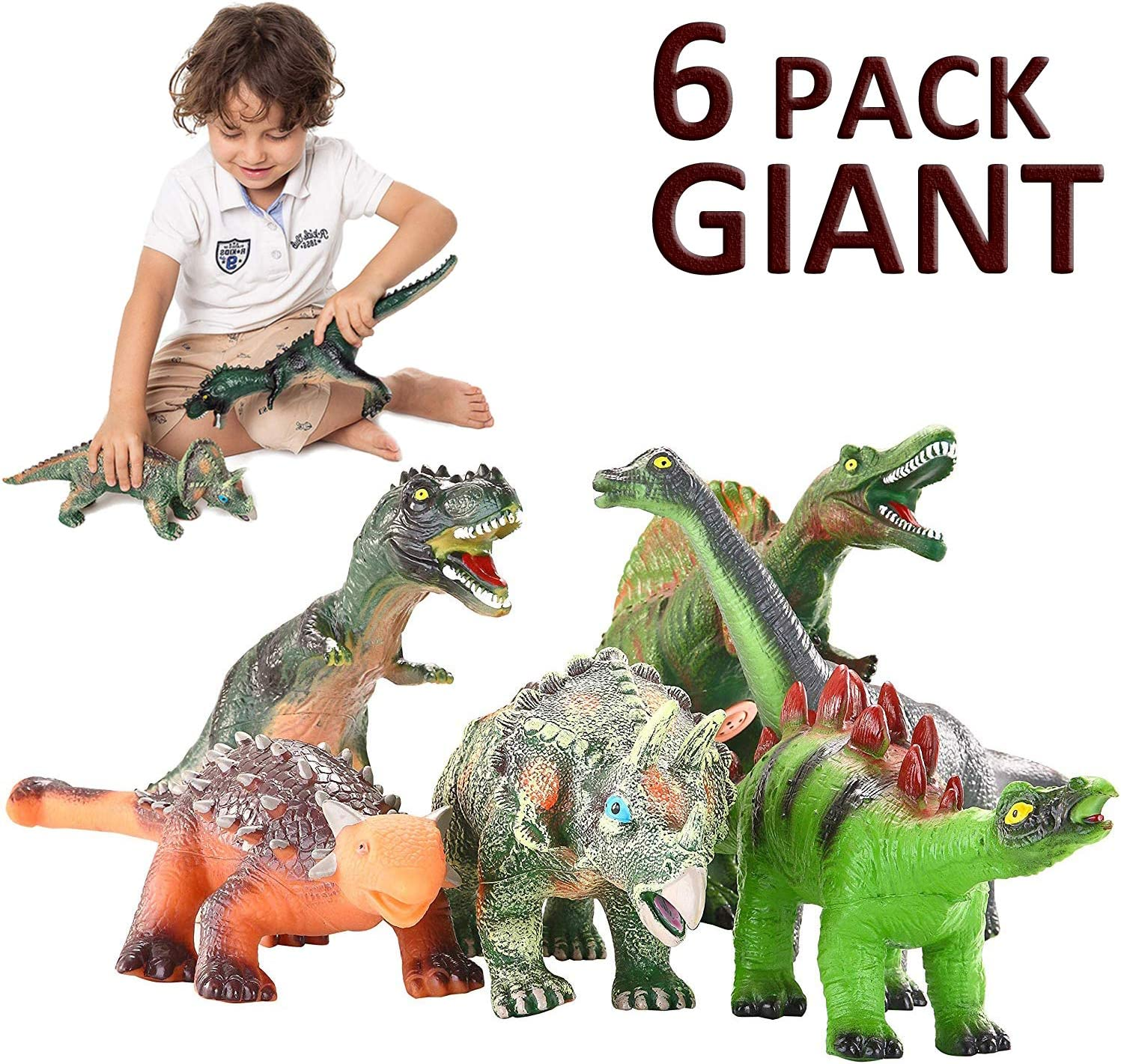 JOYIN 6 Pack 12'' to 14'' Educational Realistic Dinosaur Figures with Dinosaur Booklet