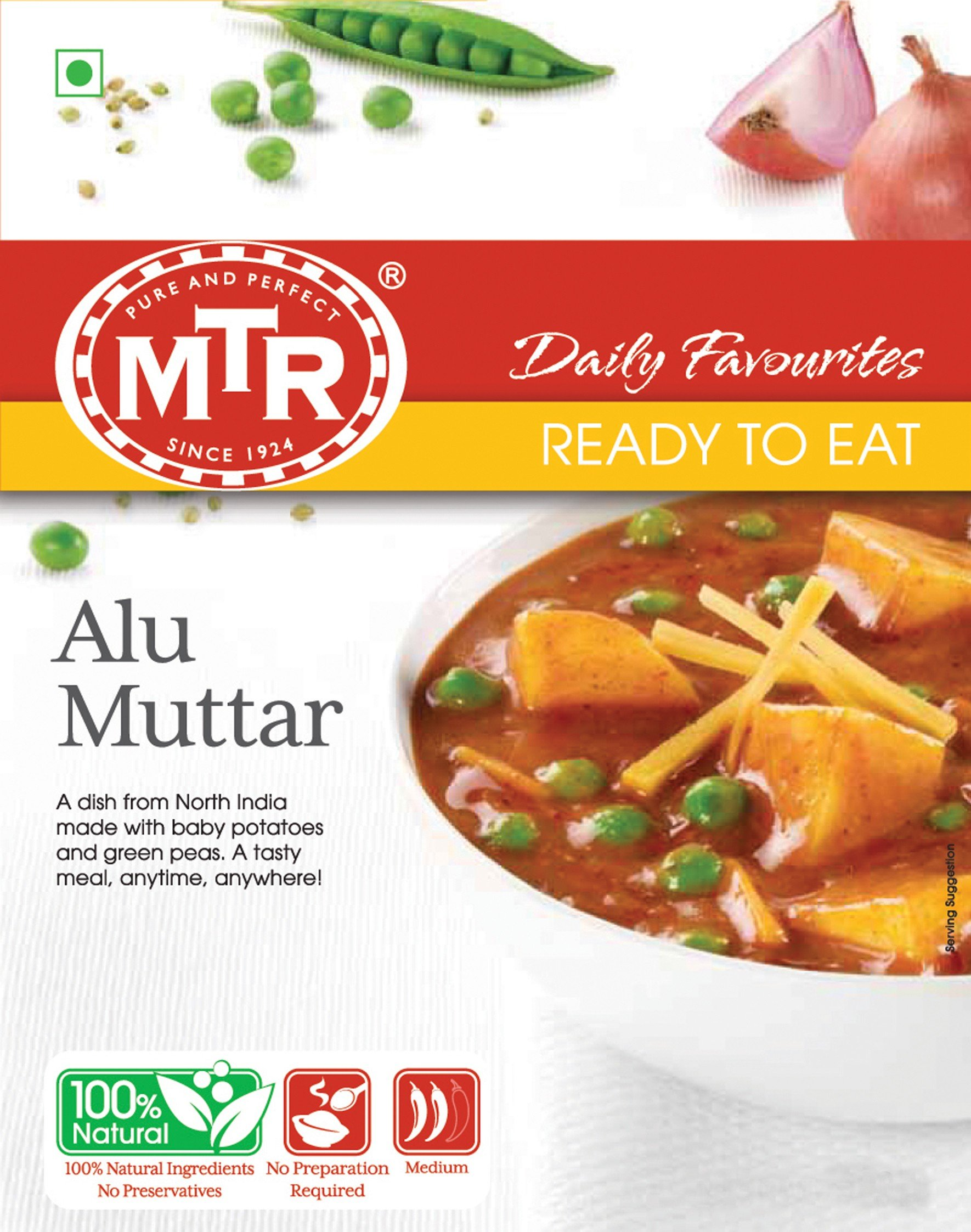 MTR Alu Muttar 300g-10.5oz Ready to Eat 100% Natural No Preservatives