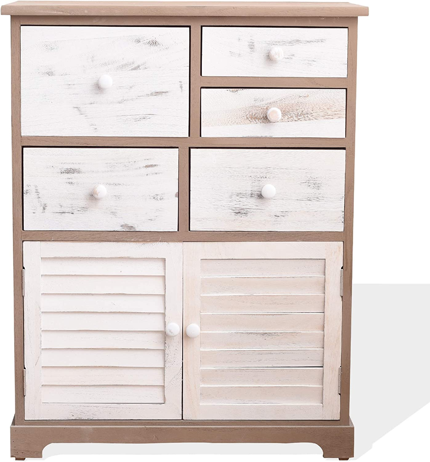 Rebecca Mobili Sideboard White Gray Cabinet Pickled Style 2 Doors 5 Drawers Bedroom Bathroom Home Decor 77 X 60 X 30 Cm H X W X D Art Re6075 Amazon Co Uk Kitchen Home
