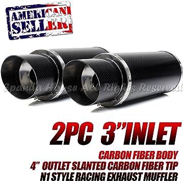 """Silencer Universal 2 4/"""" Rainbow Tip Carbon Fiber Body Exhaust Muffler 3/"""" Inlet"""