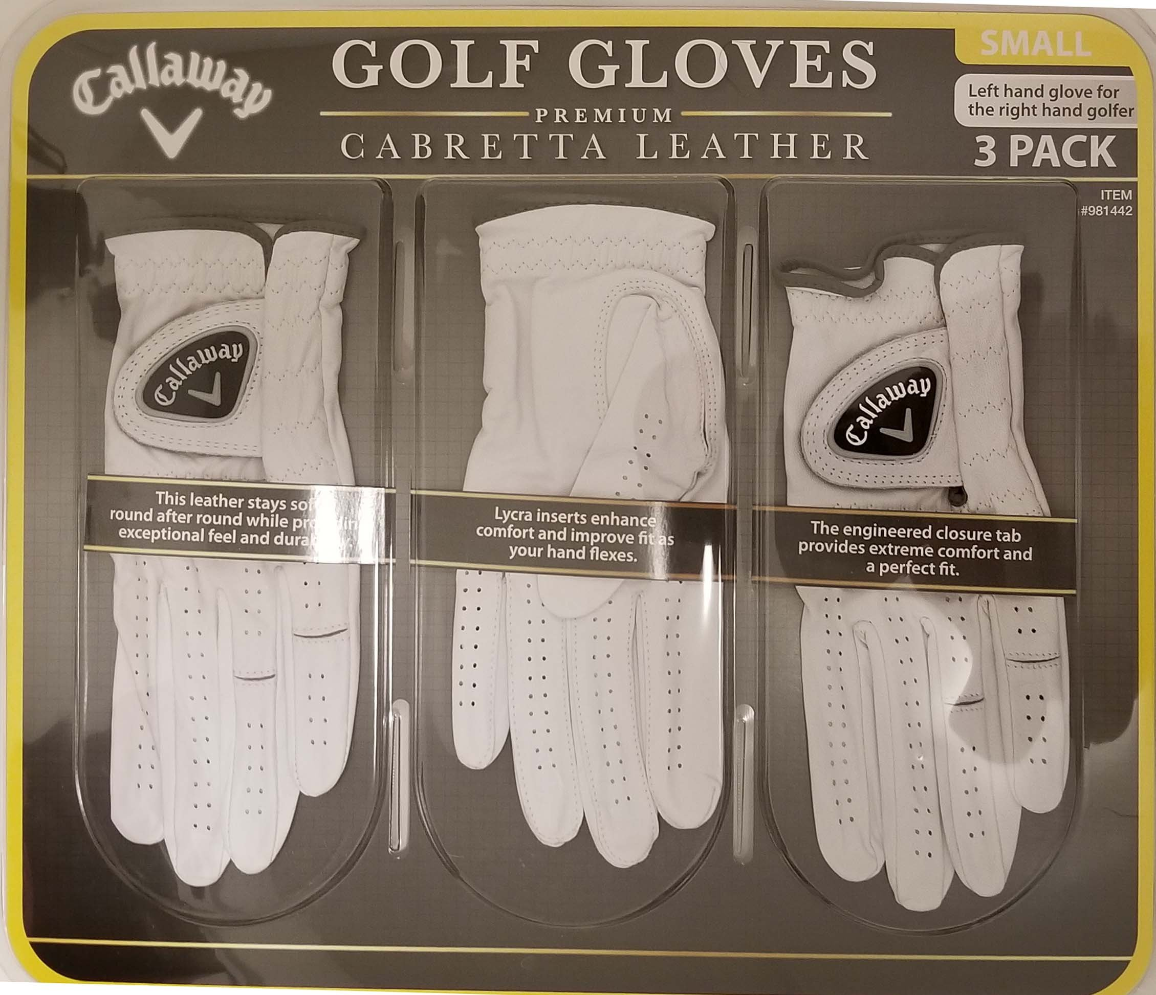 Callaway Golf Gloves 3 Pack Small Left Hand for Right Handed Golfer by Callaway