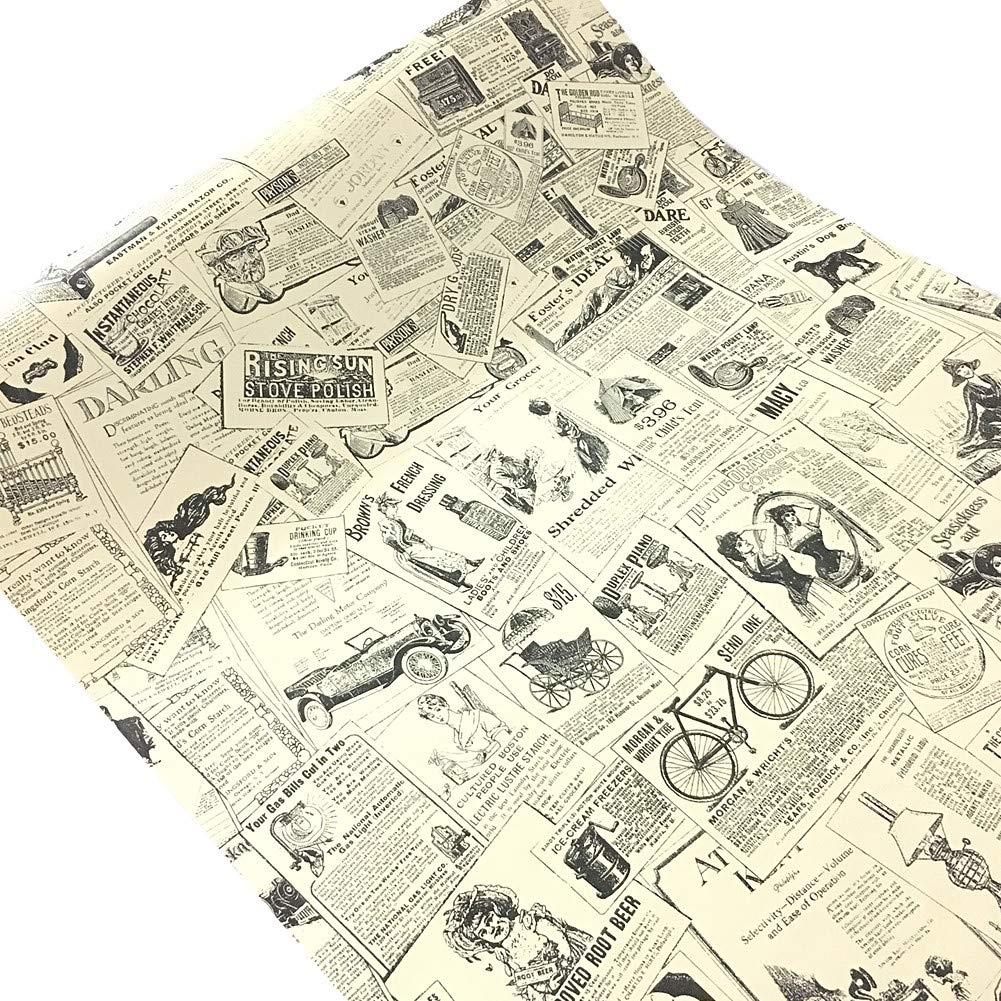 Wdragon adhésif vintage Newspaper Contact meubles de papier peint Stickers Papier peint Armoires Armoire étagère Sacs, 45cm x 300cm