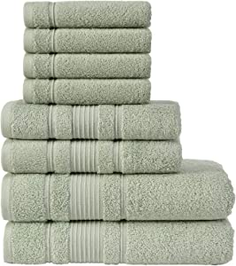 Qute Home Towel Set; 2 Bath Towels, 2 Hand Towels, and 4 Washcloths | Spa & Hotel Towels Quick Dry 100% Turkish Cotton Towel Sets for Bathroom, Shower Towel (Green, Towel Set - Set of 8)