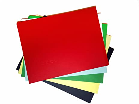 Amazon.com : SchoolSupplies Set of 10 Colored Cardboard Folders: 12 ...