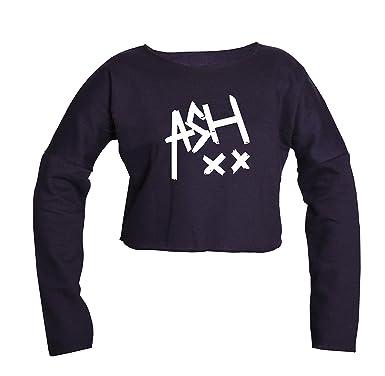 fb9a75c7c76 ASH 5SOS Crop Top - Music Band Ashton Irwin Music Tumblr Fashion Long  Sleeved Crop Top (Black)  Amazon.co.uk  Clothing