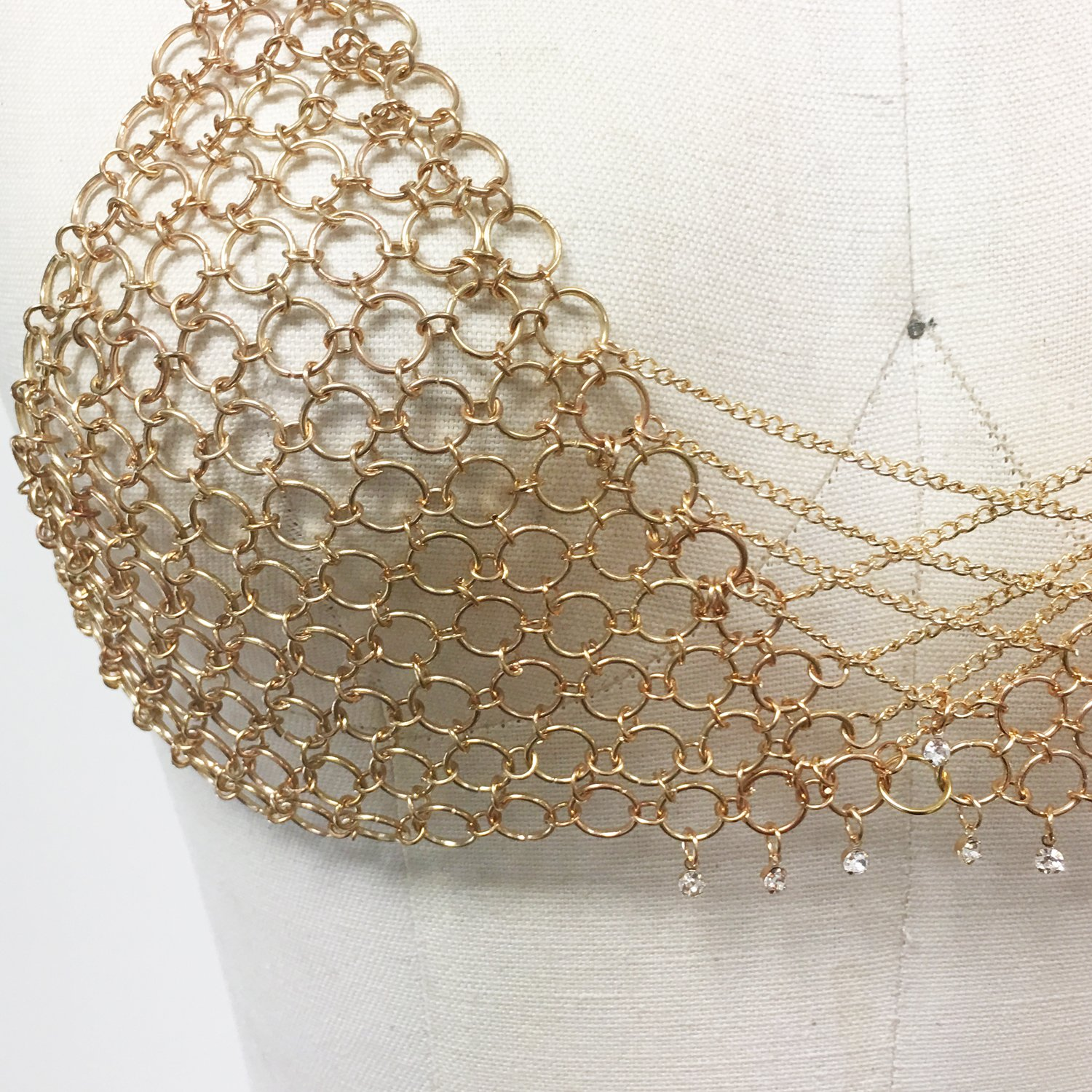 44232a9d49 Amazon.com  Chain mail bralette metaL bra with lace up corset design (ROSE  GOLD) (GOLD)  Jewelry