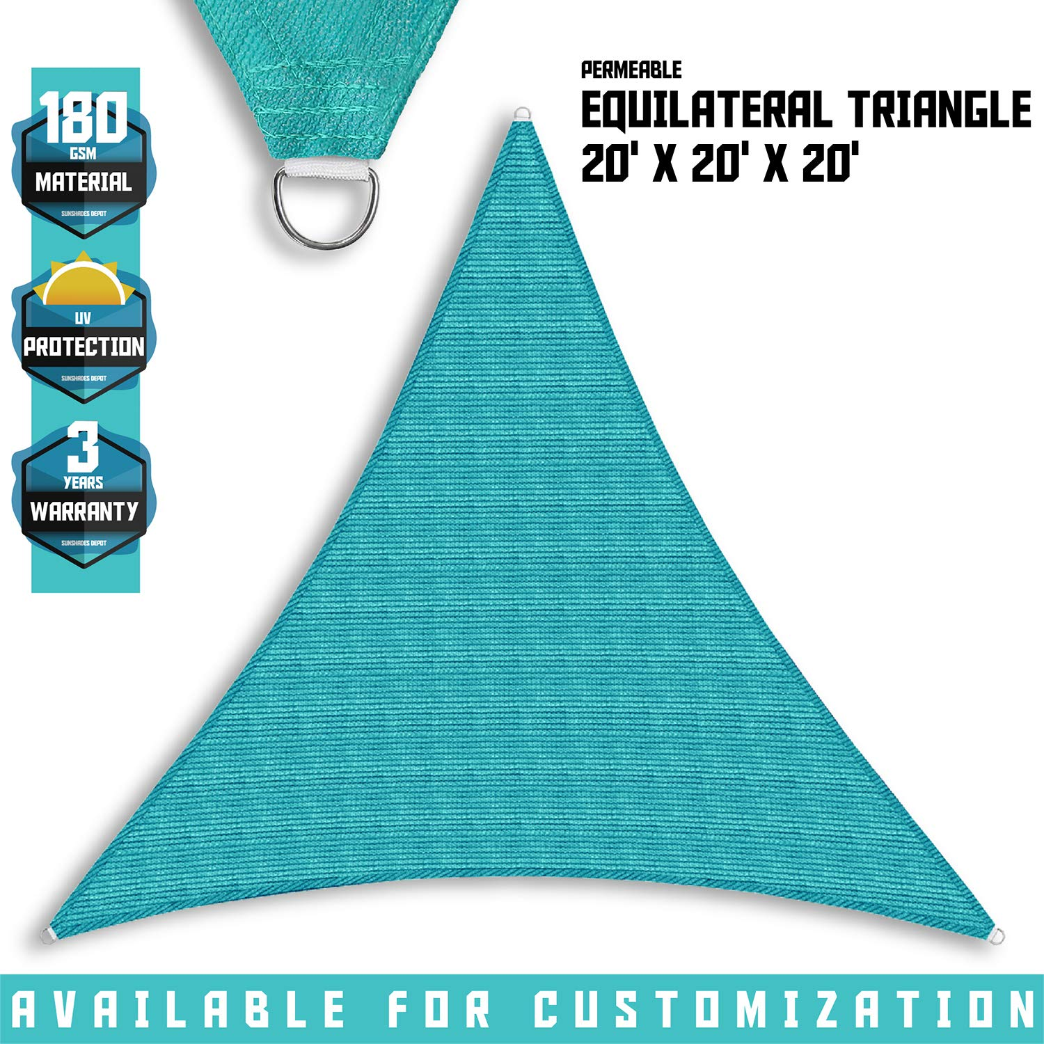 Tang Sunshades Depot 20'20'20' Turquoise Green Sun Shade Sail 180 GSM Equilateral Triangle Permeable Canopy Custom Commercial Standard by Tang