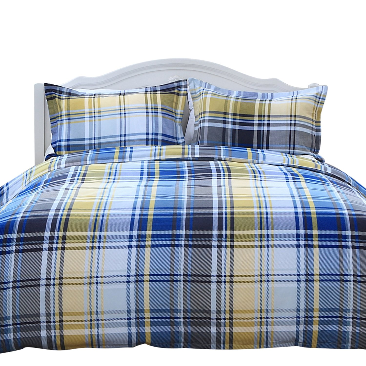 Retro Yellow And Grey Check King Duvet Cover Zip Quilt Cover