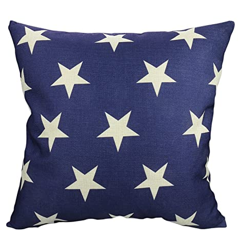 Luxbon Funda Cojines 45x45 Sofá Azul Oscuro Lino Duradero Fundas de Almohada de Estrellas Beige para Coche Cama Hogar Decoracion