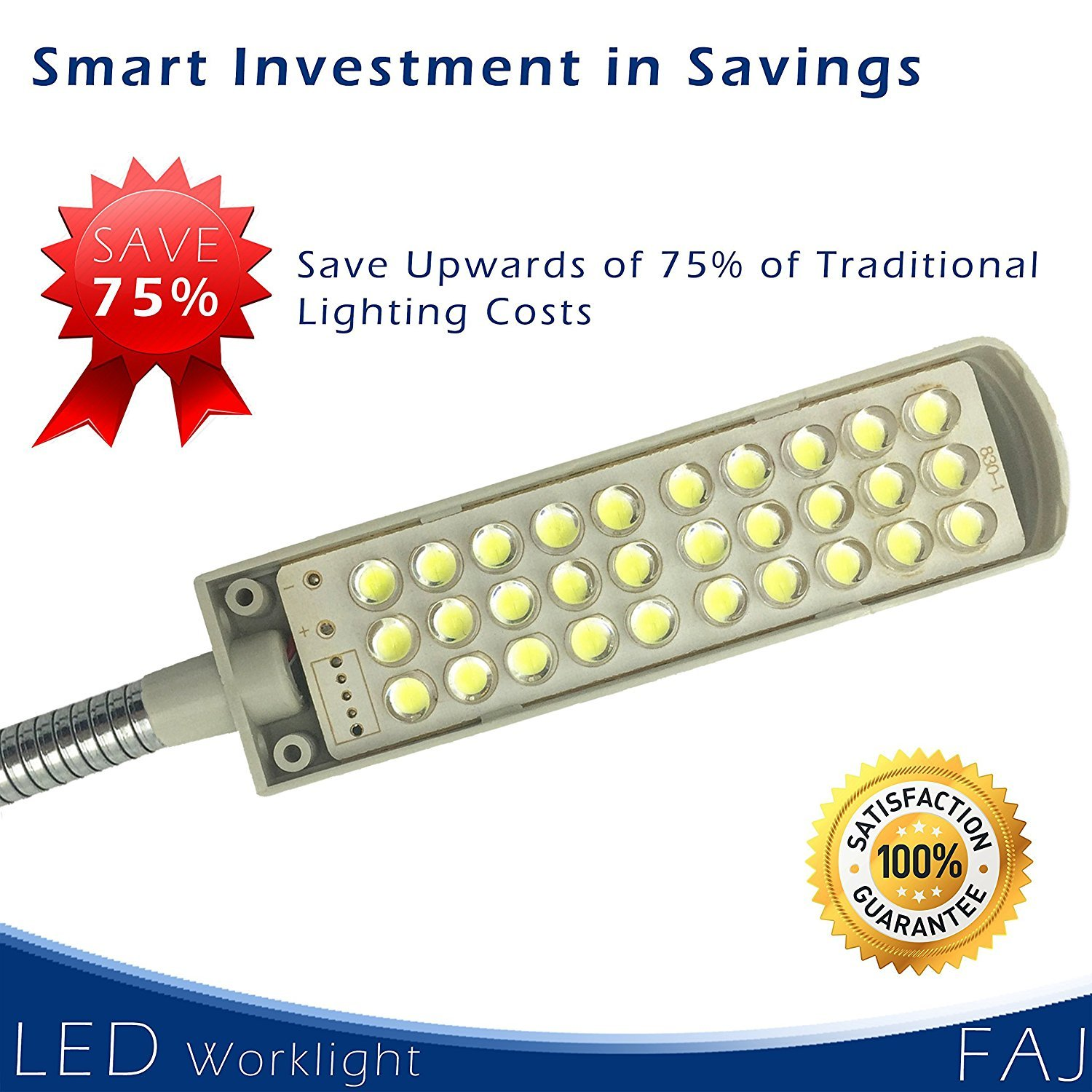 FAJ Magnetic 12-Inches Extra Long Flexible Gooseneck Arm Multifunctional Worklight, Bright Daylight LEDs Sewing Machines, Lathes, Drill Presses, Workbenches, Music Stands (30 led) by FAJ (Image #4)