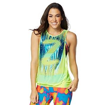 Zumba Fitness® Hangin Loose Mesh Tank Camiseta sin Mangas, Mujer, Amarillo,