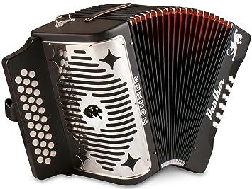 Hohner Pantera F/B/E 3 Filas diatónica acordeón, Color Negro ...