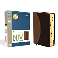 NIV Study Bible, Compact, Leathersoft, Tan/Burgundy, Indexed, Red Letter Edition