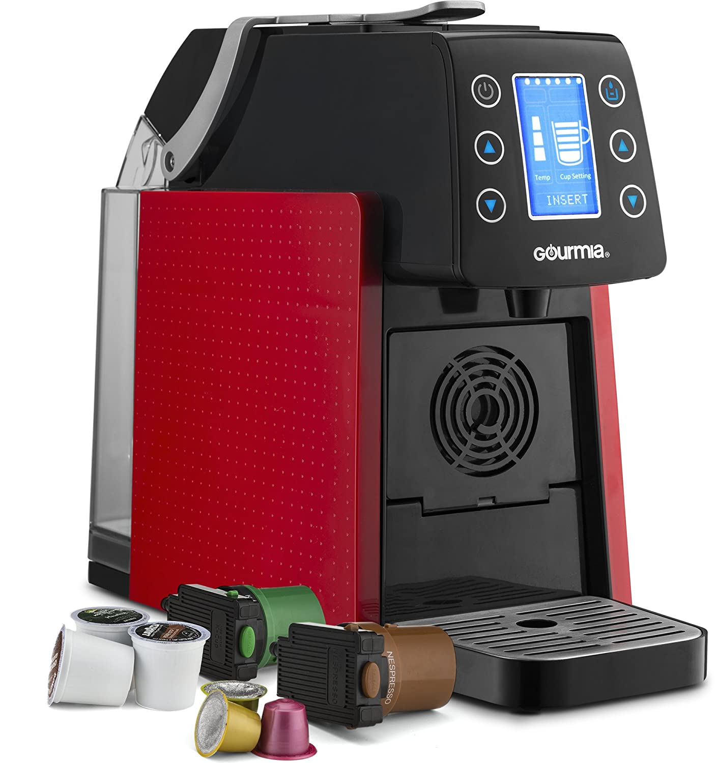Gourmia GCM5100 One Touch Multi Capsule Coffee Machine, Compatible with Nespresso and K-Cup Pods, Adjustable Temperature & Cup Size, Digital Display, Demi Shot-Glass Tray -White
