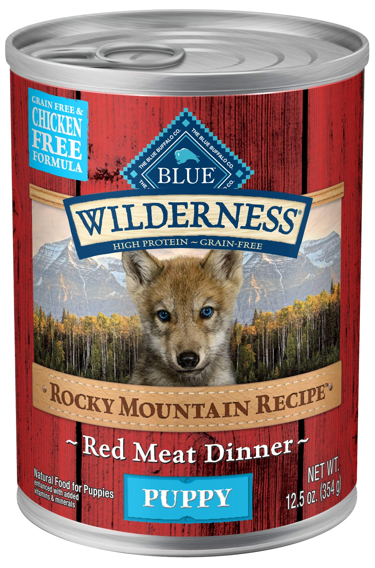 Blue Buffalo Wilderness Rocky Mountain Recipe High Protein Grain Free, Natural Puppy Wet Dog Food, Red Meat 12.5-oz can (pack of 12) by BLUE BUFFALO