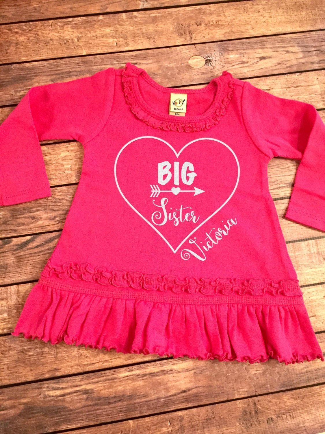 Big Sister Personalized Sparkle Striped Ruffle trimmed Dress, Announcement dress, Baby pink ruffle dress, Children's announcement dress,
