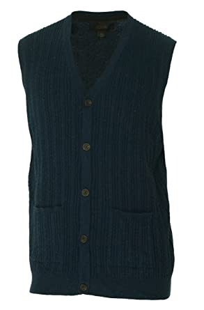 Tasso Elba Mens Cable Knit Button-Down Sweater Vest Navy L at ...