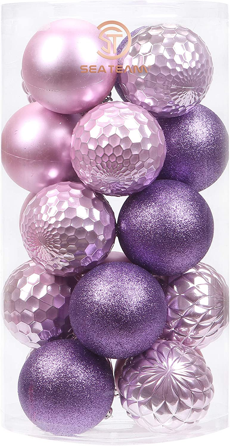 Sea Team 20-Pack Christmas Ball Ornaments with Strings, 80mm/3.15-Inch Large Size Baubles, Shatterproof Plastic Christmas Bulbs, Hanging Decorations for Xmas Tree, Holiday, Wedding, Party, Lavender