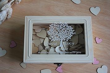 Caja de madera para recuerdos de boda rústico de deseo, caja libro ...