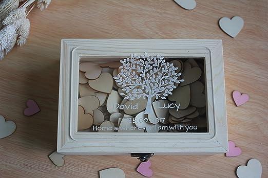 Caja de madera para recuerdos de boda rústico de deseo, caja libro de invitados para boda de corazón personalizado para regalos de boda para parejas: Amazon.es: Hogar