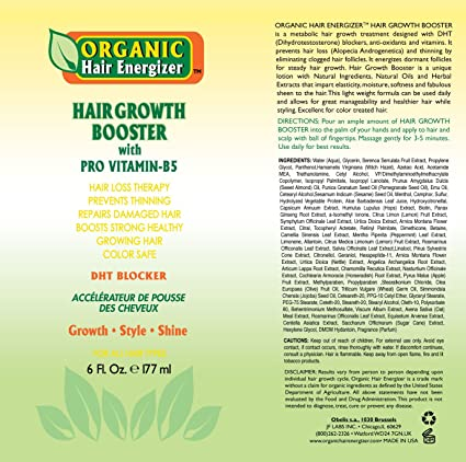 Amazon.com : Organic Hair Growth Booster - Pro Vitamin-B5, DHT-Blocker, Sulfate-Free & Paraben-Free - for Thinning & Receding Hair - Color Safe for Men, ...