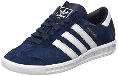 Adidas Hamburg Basket Mode Homme , Bleu (Collegiate Navy/Footwear White/Gold Metallic