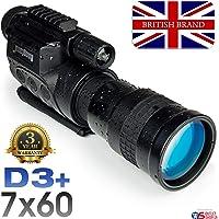 Rongland NV760D3+ Professional numérique Night Vision périphérique - Garantie 3 ans. Marque britannique. Qualité d'image du gén. 2, Jour & Nuit, IR auto, Photo, Vidéo, Sortie vidéo, 7x60mm - D3+