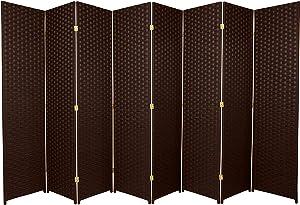 Oriental Furniture 6 ft. Tall Woven Fiber Room Divider - 8 Panel - Dark Mocha