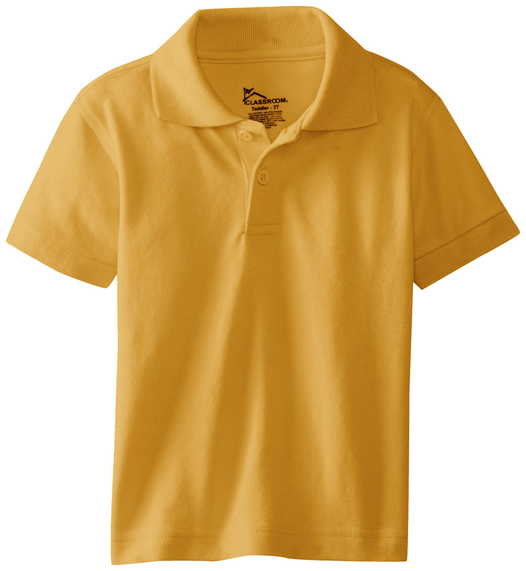 CLASSROOM Little Boys' Preschool Unisex Short Sleeve Pique Polo, Gold, 4T