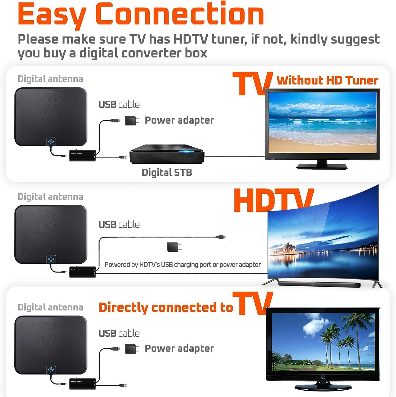 [más reciente 2018] Amplificado HD Digital TV Antena larga gama 65-80 millas – Soporte 4K 1080p & Todos los viejos TV interior potente HDTV ...